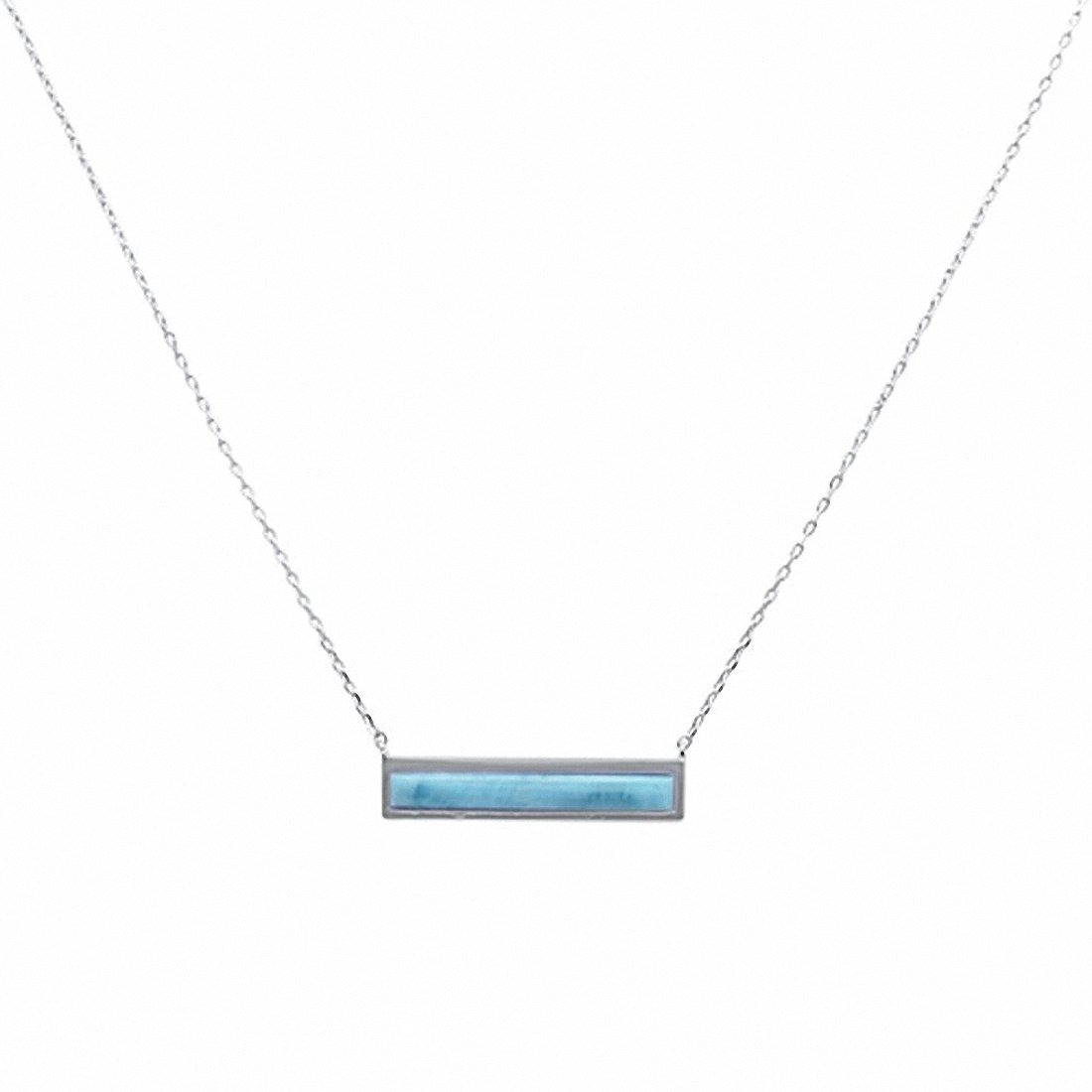 "Bar Pendant 17"" Necklace Lab Created Blue Opal 925 Sterling Silver"