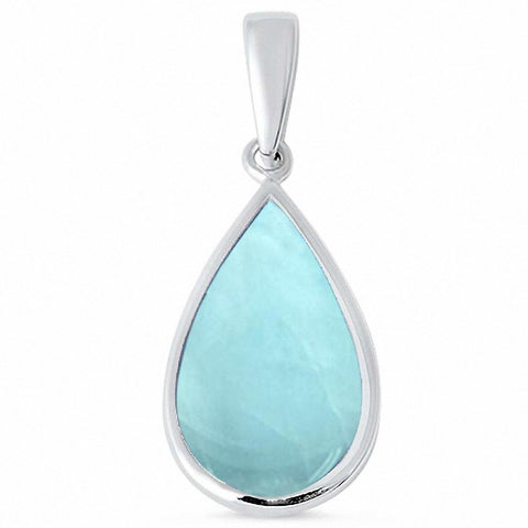 Teardrop Pear Shape Solitaire Pendant Created Blue Opal 925 Sterling Silver Choose Color