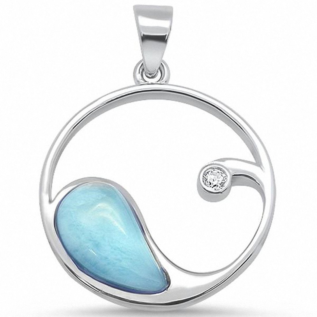 Ocean Beach wave Pendant Round Cubic Zirconia 925 Sterling Silver Choose Color