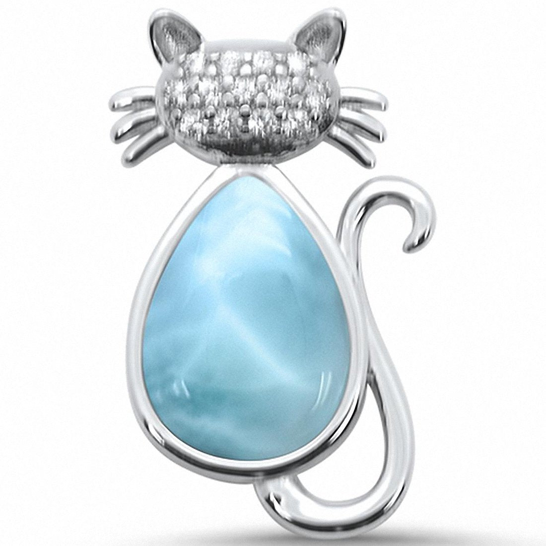 Cat Pendant Charm Round Cubic Zirconia Created Opal Solid 925 Sterling Silver Choose Color
