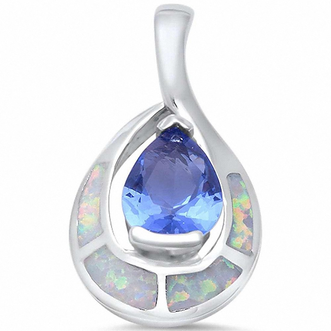 Teardrop Pear Simulated Tanzanite Solid 925 Sterling Silver Choose Color