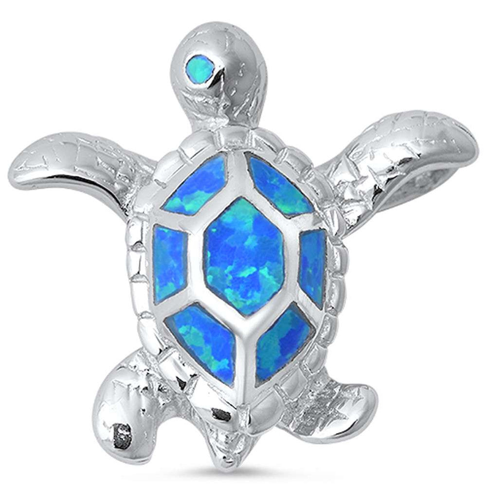 Turtle Pendant Lab Created Fire Blue Opal 925 Sterling Silver Choose Color - Blue Apple Jewelry