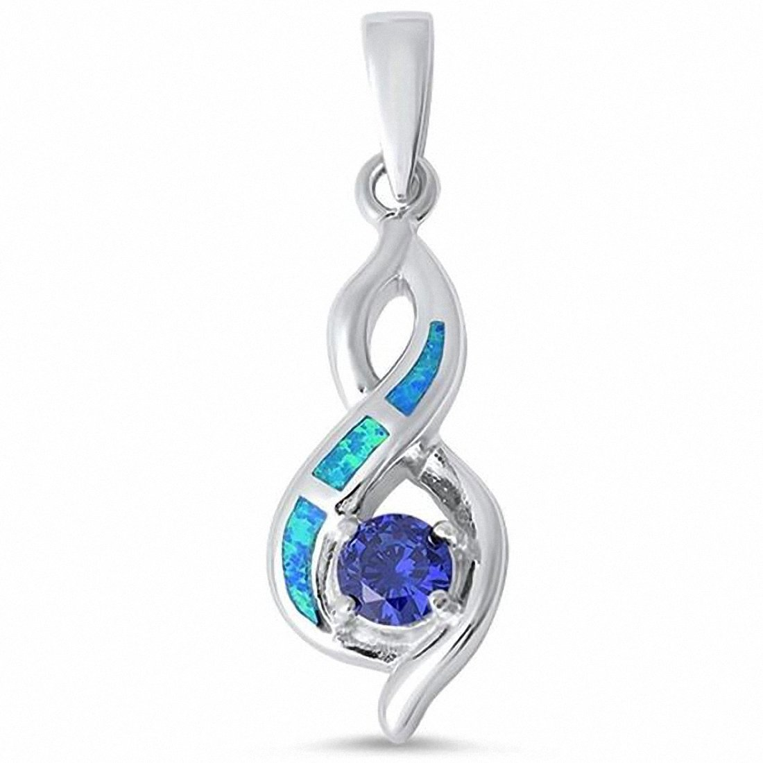 Fashion Infinity Crisscross Pendant Lab Opal Round Simulated Tanzanite 925 Sterling Silver Choose Color