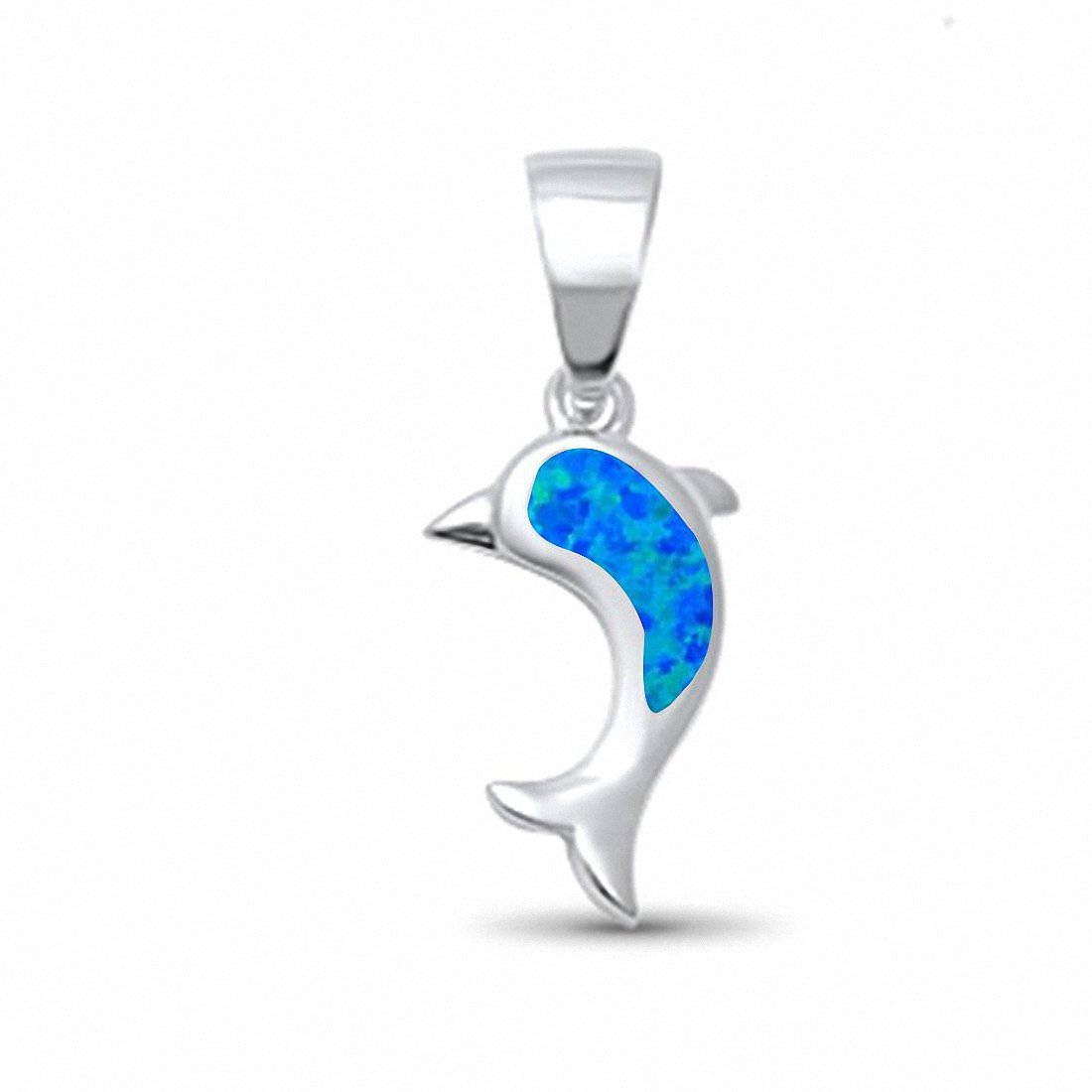 Dolphin Pendant Created Opal 925 Sterling Silver Choose Color