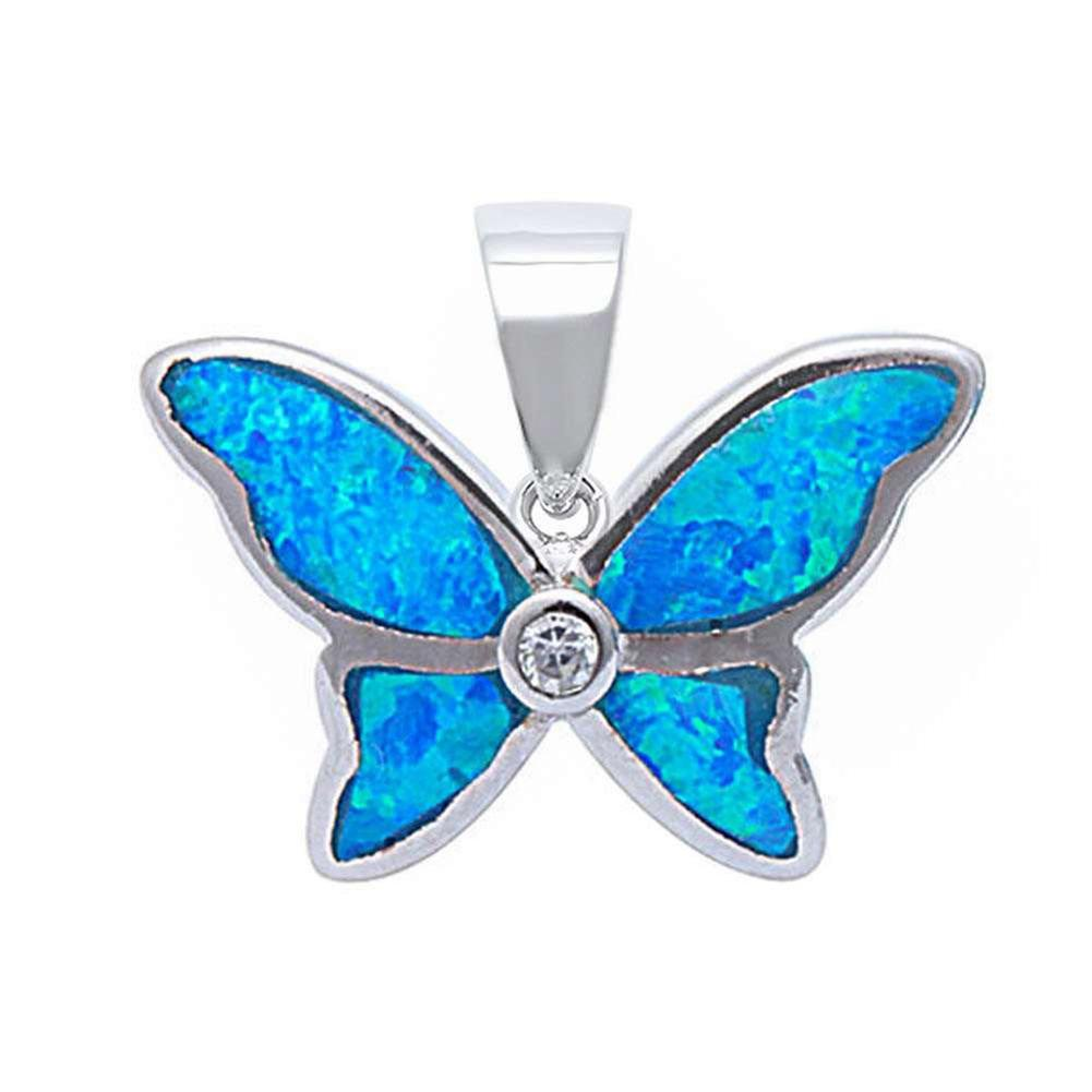Butterfly Pendant Charm Created Opal Bezel Round Cubic Zirconia 925 Sterling Silver Choose Color