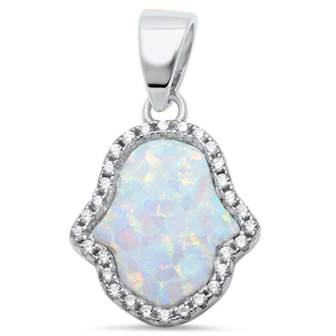Hamsa Pendant Charm Created Opal 925 Sterling Silver Round CZ Choose Color Hamesh Hand of God