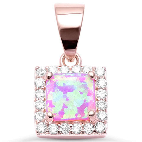 Halo Pendant Princess Cut Square Created Opal Round CZ 925 Sterling Silver Choose Color