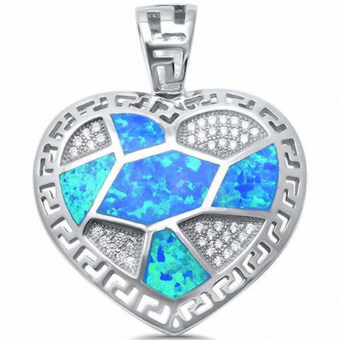 Heart Greekkey Pendant Created Opal 925 Sterling Silver Choose Color