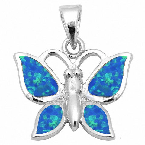 Butterfly Pendant Created Opal 925 Sterling Silver Choose Color