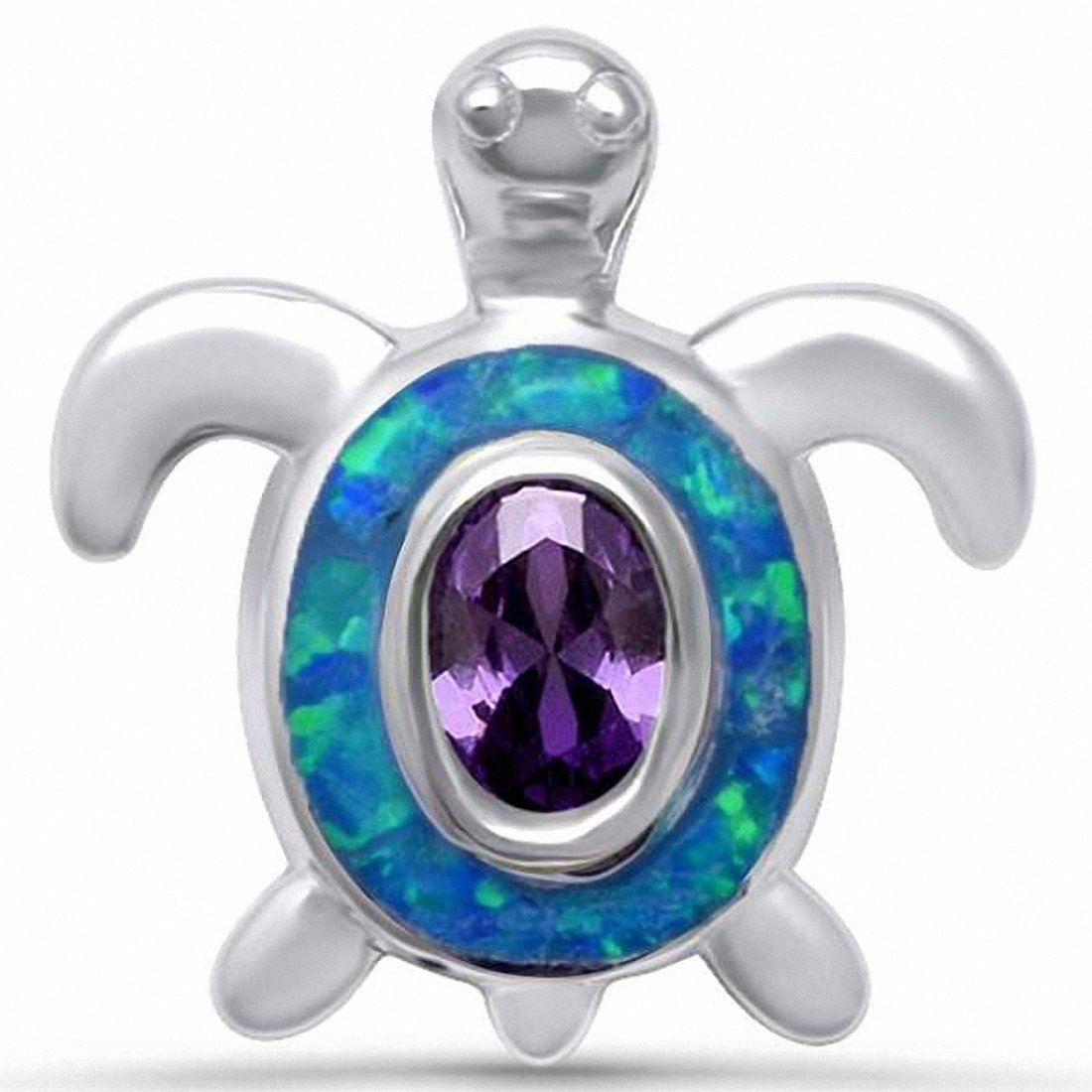Turtle Pendant Oval Simulated Amethyst Created Opal 925 Sterling Silver Choose Color
