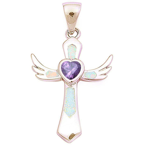 Cross Angel Wing Pendant Created Blue Opal Heart Simualted Amethyst 925 Sterling Silver Choose Color
