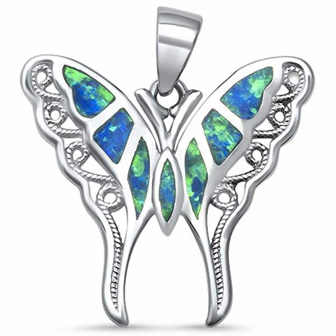 Filigree Swirl Butterfly Pendant Charm Simulated Abalone 925 Sterling Silver (24mm) Choose Color