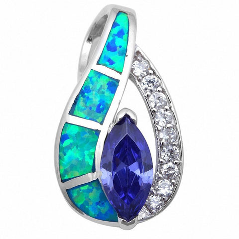 Fashion Pendant Marquise Simulated CZ Created Opal 925 Sterling Silver Choose Color