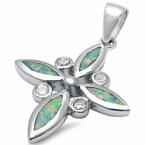 Cross Pendant Created Opal Round Cubic Zirconia 925 Sterling Silver Choose Color