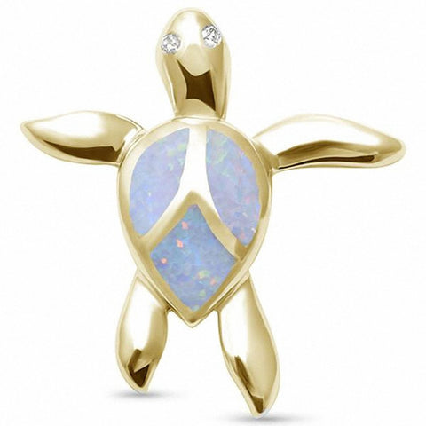 Turtle Pendant Charm Round Simulated Cubic Zirconia Created Blue Opal 925 Sterling Silver Choose Color