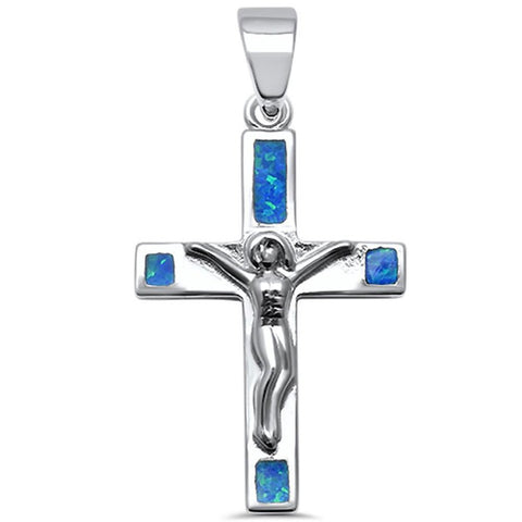 Cross Pendant Lab Created Blue Opal 925 Sterling Silver Jesus Crucified