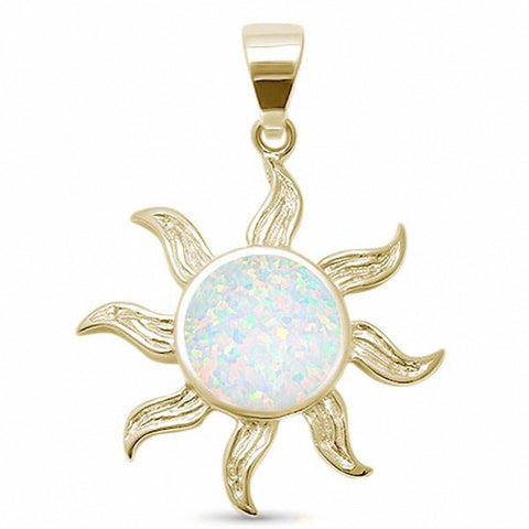 Sun Pendant Charm Created White Opal 925 Sterling Silver Choose Color