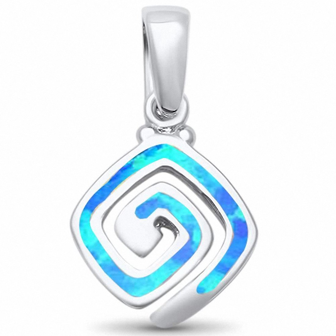 Square Swirl Spiral Pendant 925 Sterling Silver Created Opal Choose Color