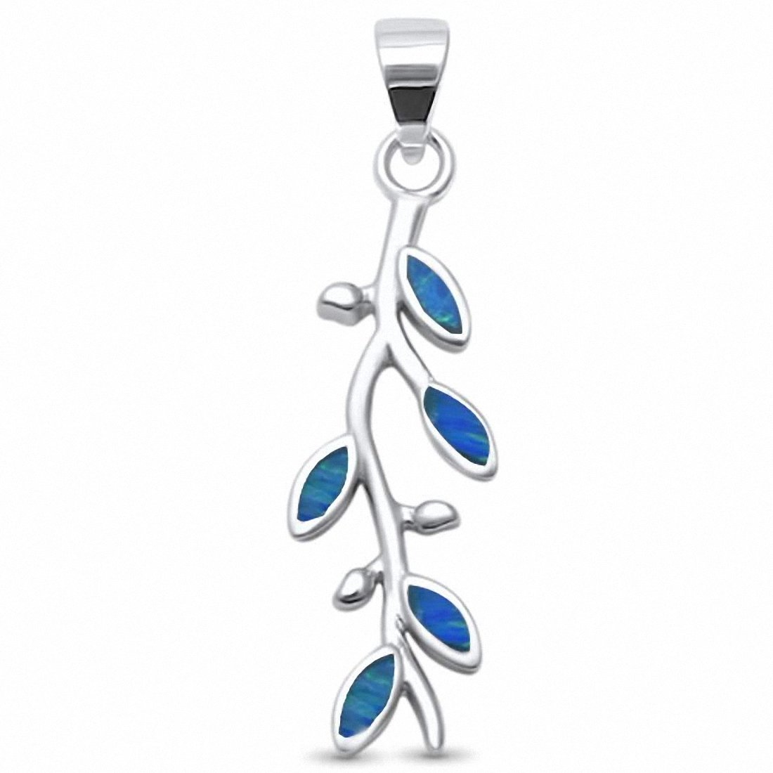 Olive Tree Brach Pendant Created Opal 925 Sterling Silver Choose Color
