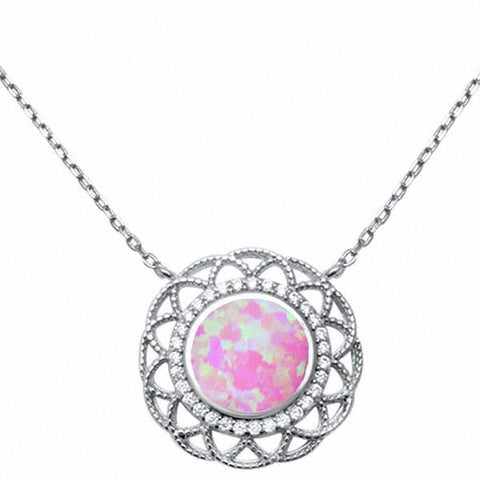 "18"" Necklace Pendant Filigree Design Created Opal Round Simulated CZ 925 Sterling Silver Choose Color"