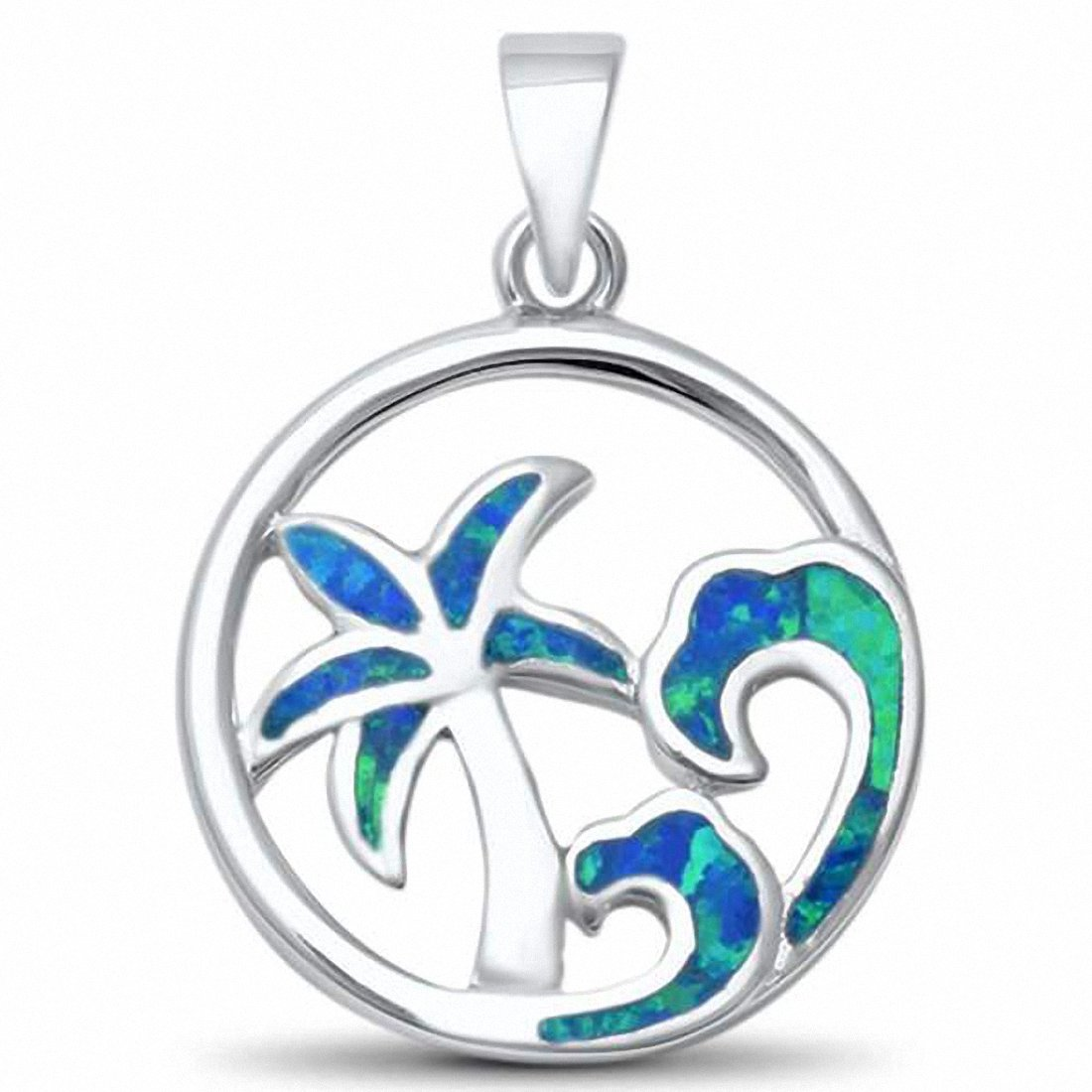 Palm Tree Wave Pendant Lab Created Opal 925 Sterling Silver