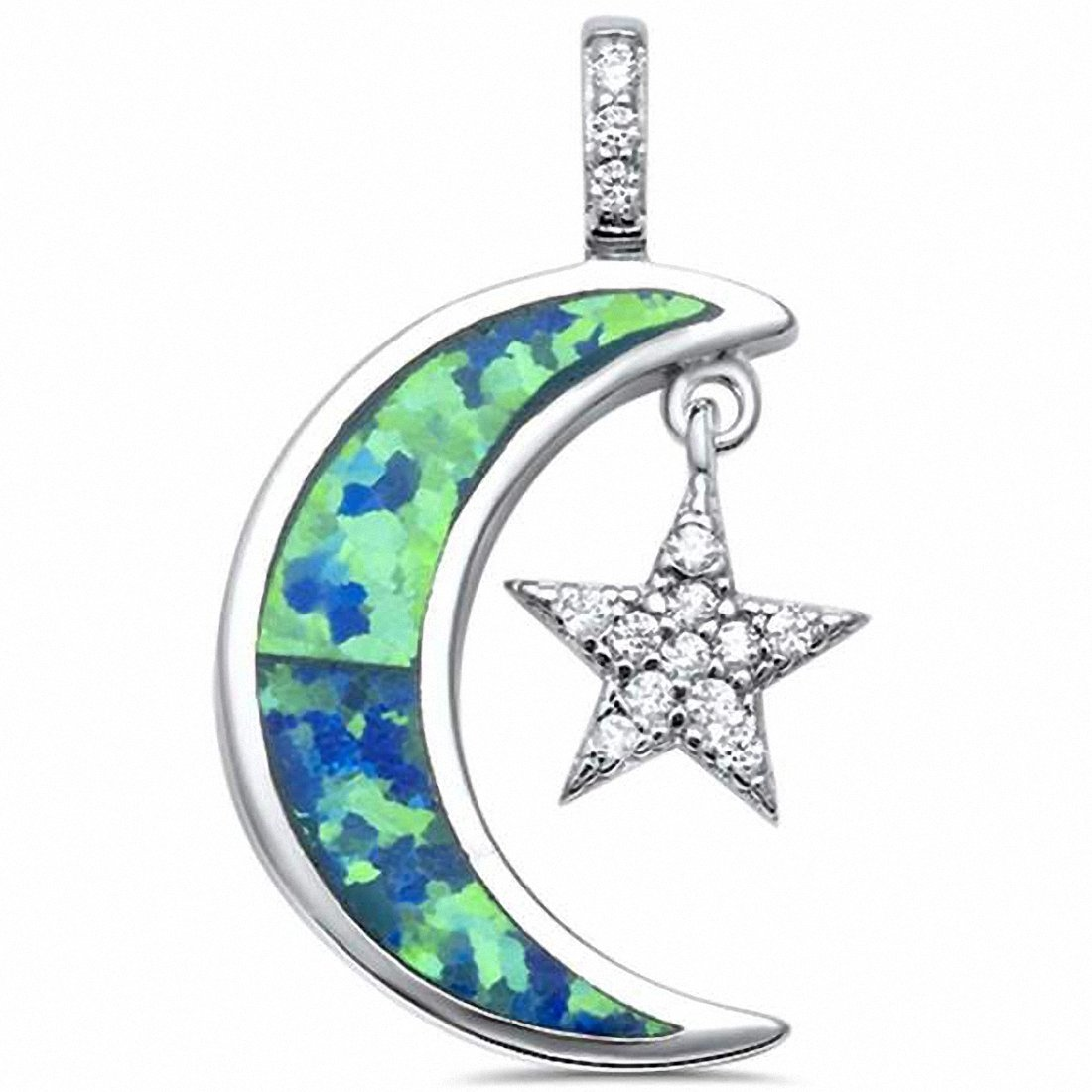 Crescent Moon Dangling Star Pendant Created Blue Opal 925 Sterling Silver Choose Color