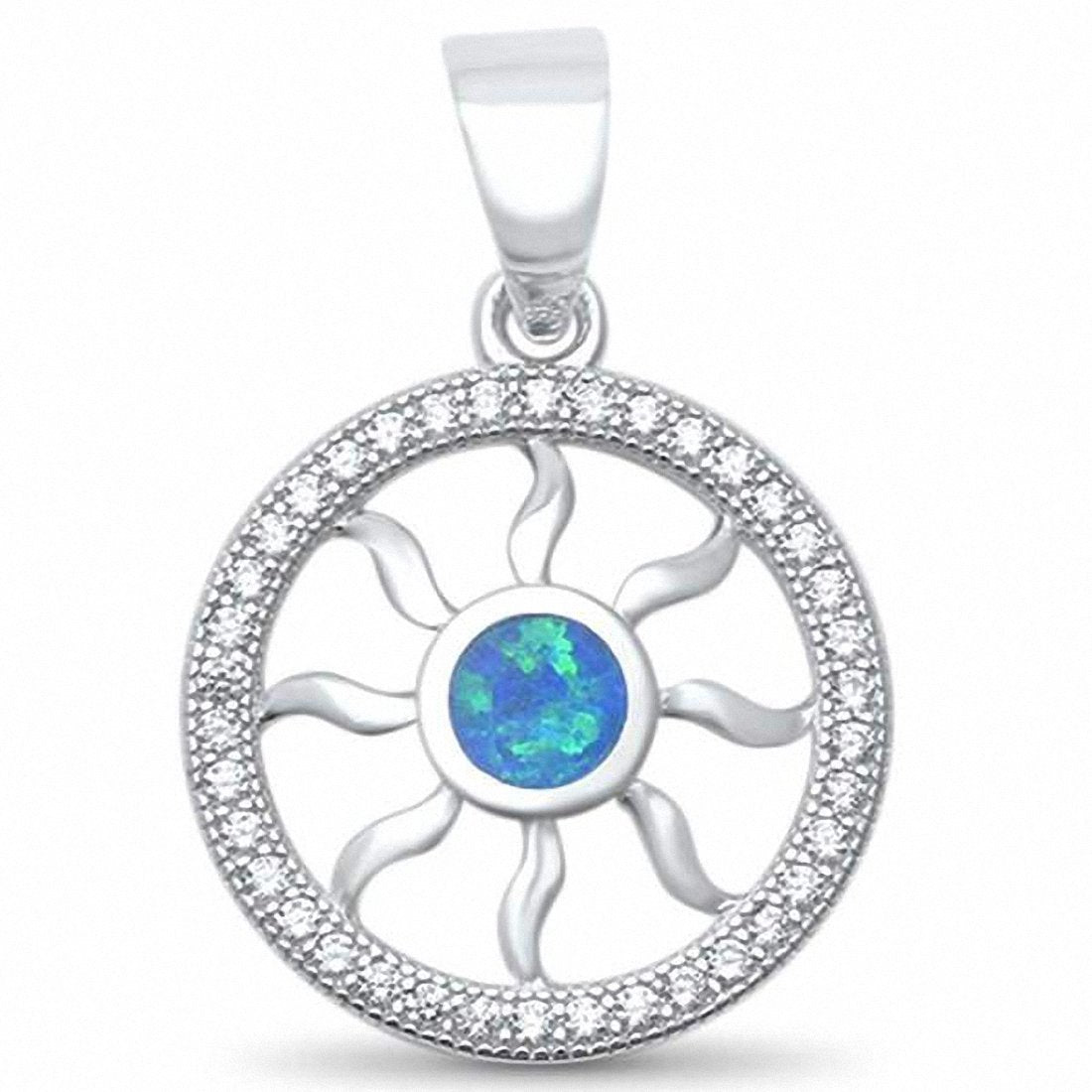 Round Sun Pendant Created Opal Round Cubic Zirconia 925 Sterling Silver Choose Color