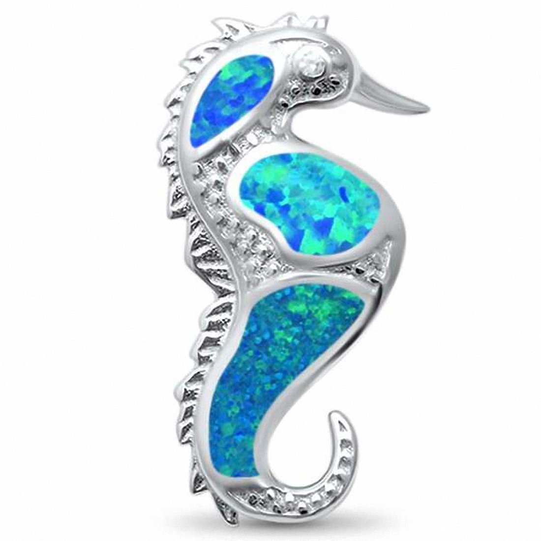 Seahorse Pendant Created Opal 925 Sterling Silver Choose Color