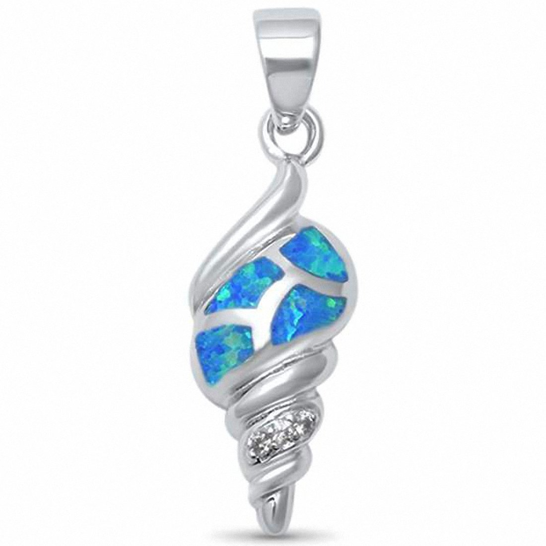 Twisted Shell Pendant Created Opal 925 Sterling Silver Choose Color