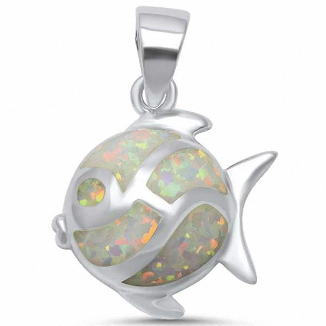 Fish Pendant 925 Sterling Silver Created Opal Choose Color