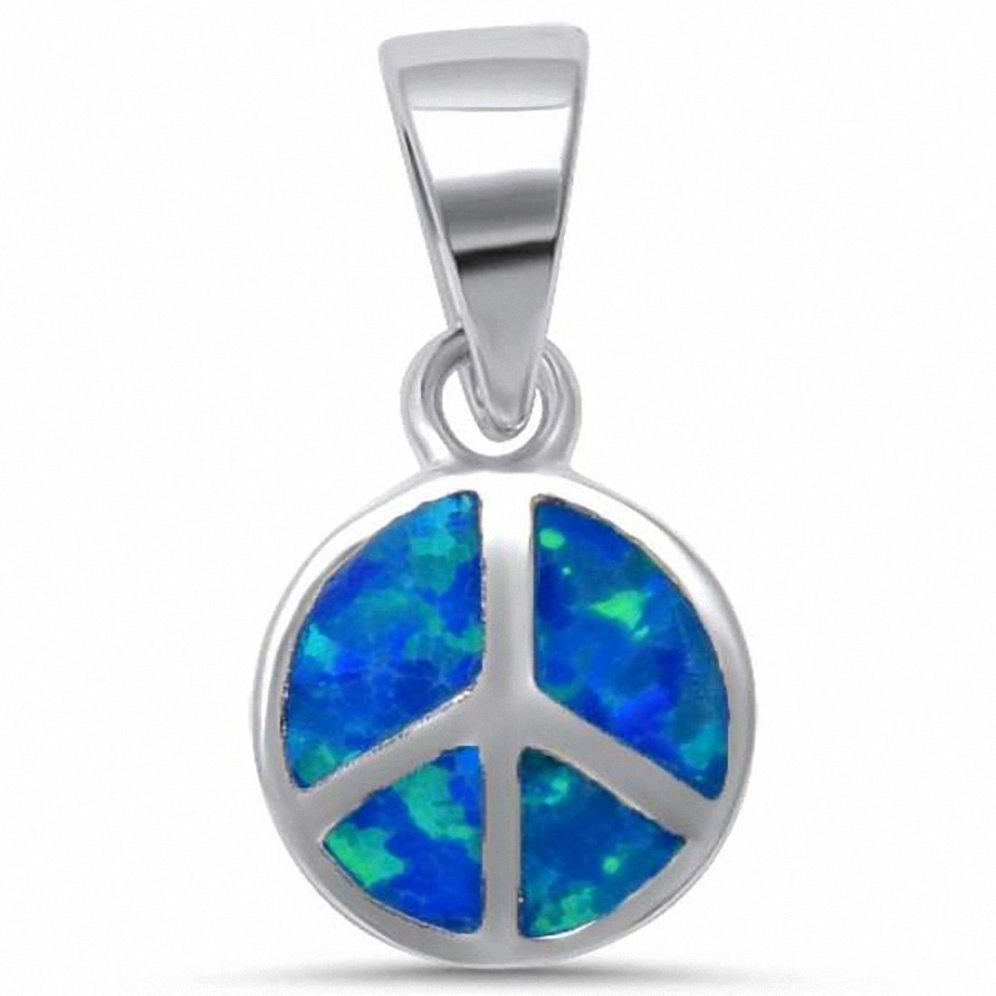 Round Peace Pendant Created Opal 925 Sterling Silver Choose Color
