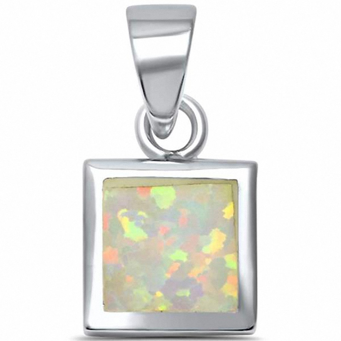 Solitaire Bezel Square Pendant Created Opal 925 Sterling Silver Choose Color