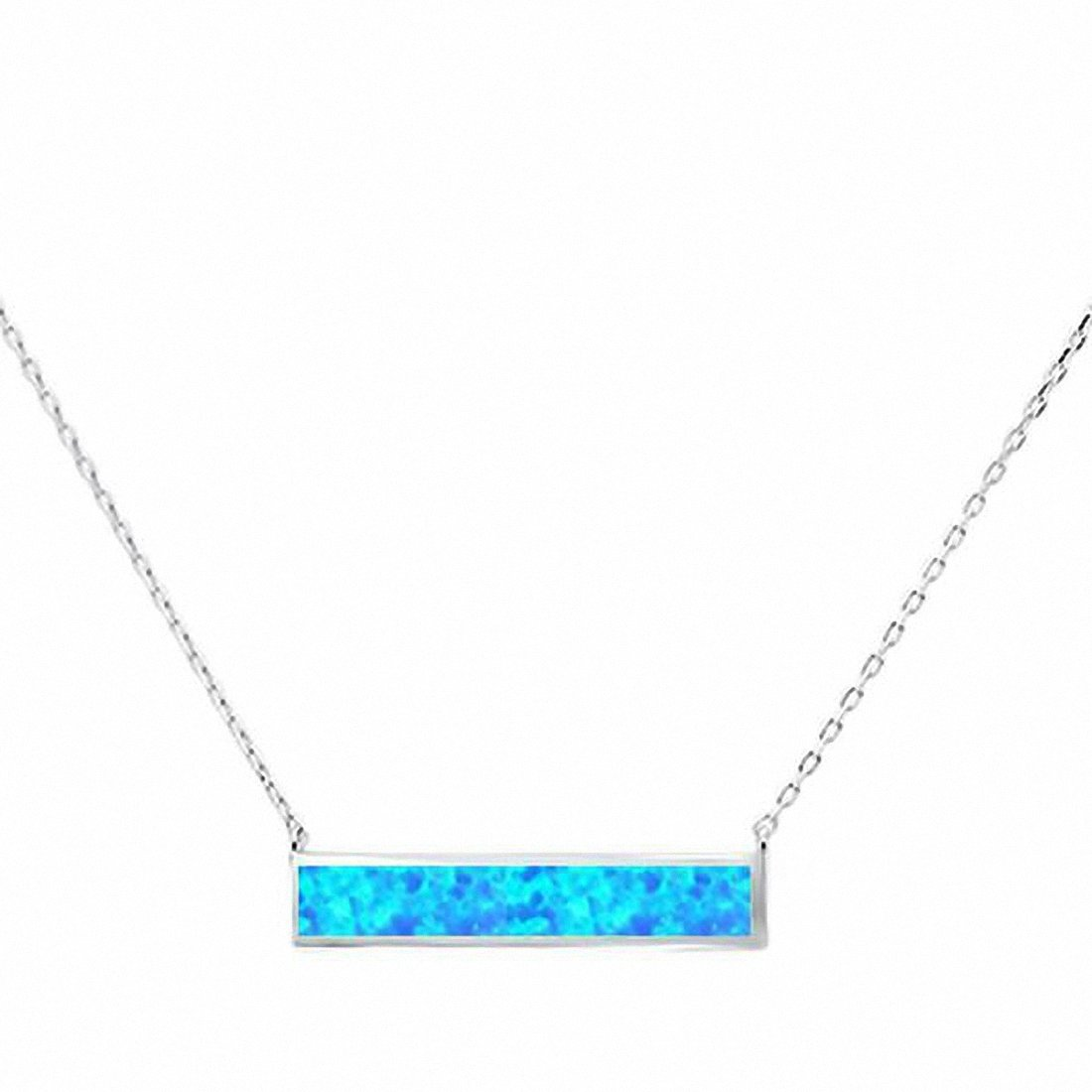 "Bar Pendant 17"" Necklace Created Opal 925 Sterling Silver choose Color"