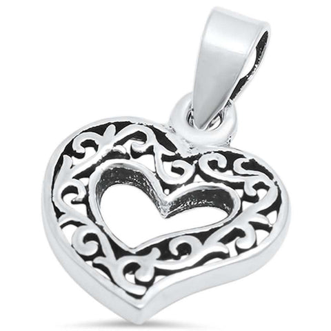 Heart Filigree Pendant 925 Sterling Silver Choose Color - Blue Apple Jewelry