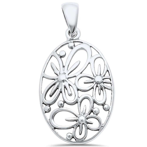 Flower Pendant 925 Sterling Silver Oval Plain Choose Color - Blue Apple Jewelry