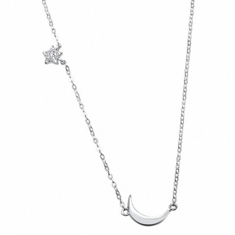 Celestial Star Moon Necklace 925 Sterling Silver choose Color
