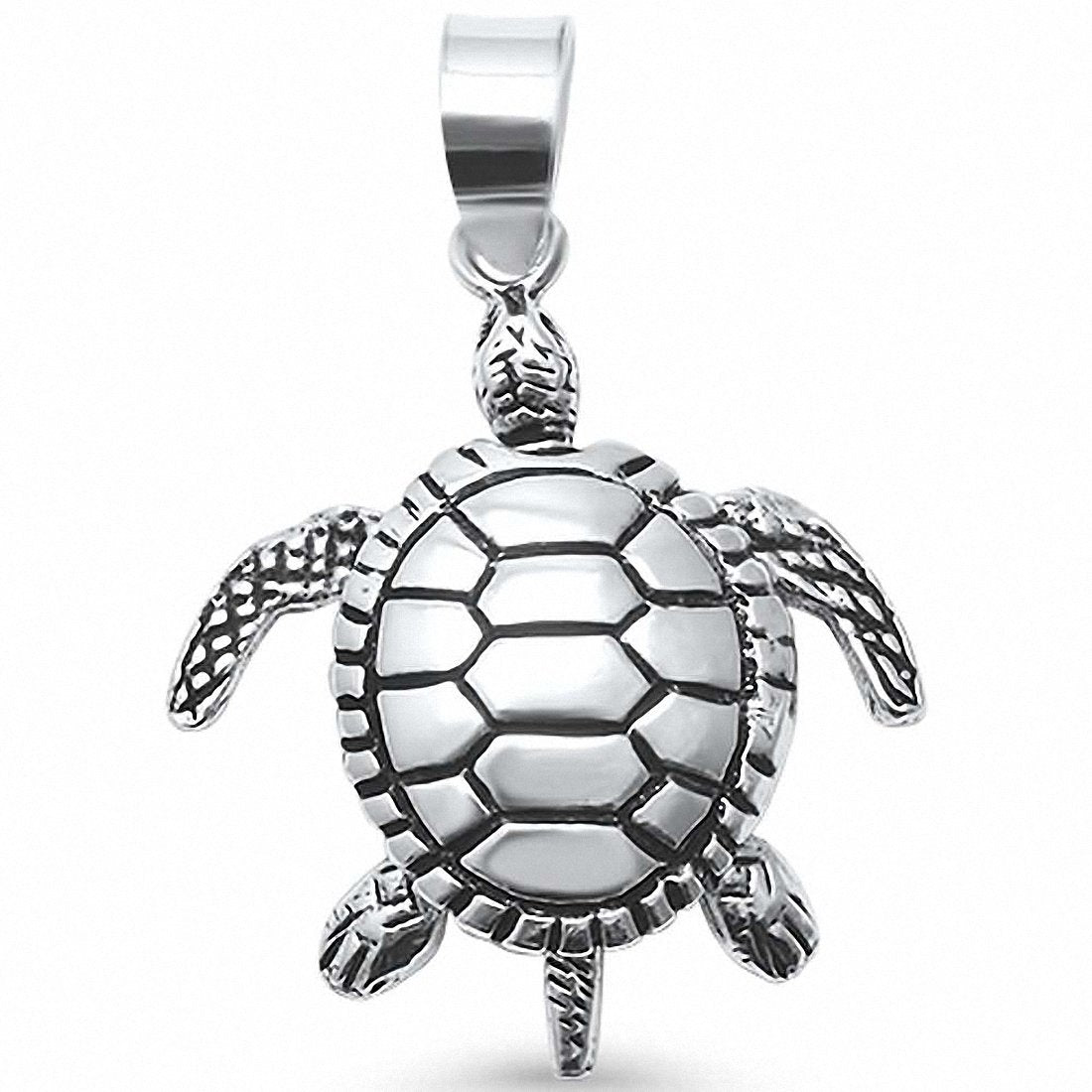 Moving Turtle Pendant Charm 925 Sterling Silver Choose Color