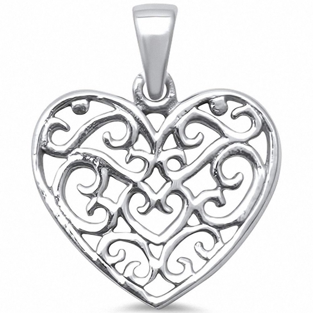 Heart Filigree Pendant Charm 925 Sterling Silver Choose Color