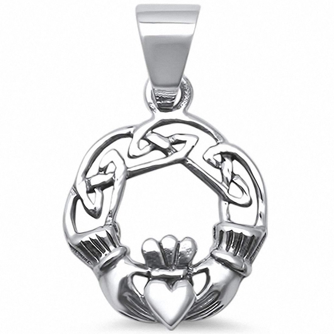 Celtic Heart Claddagh Pendant 925 Sterling Silver Choose Color