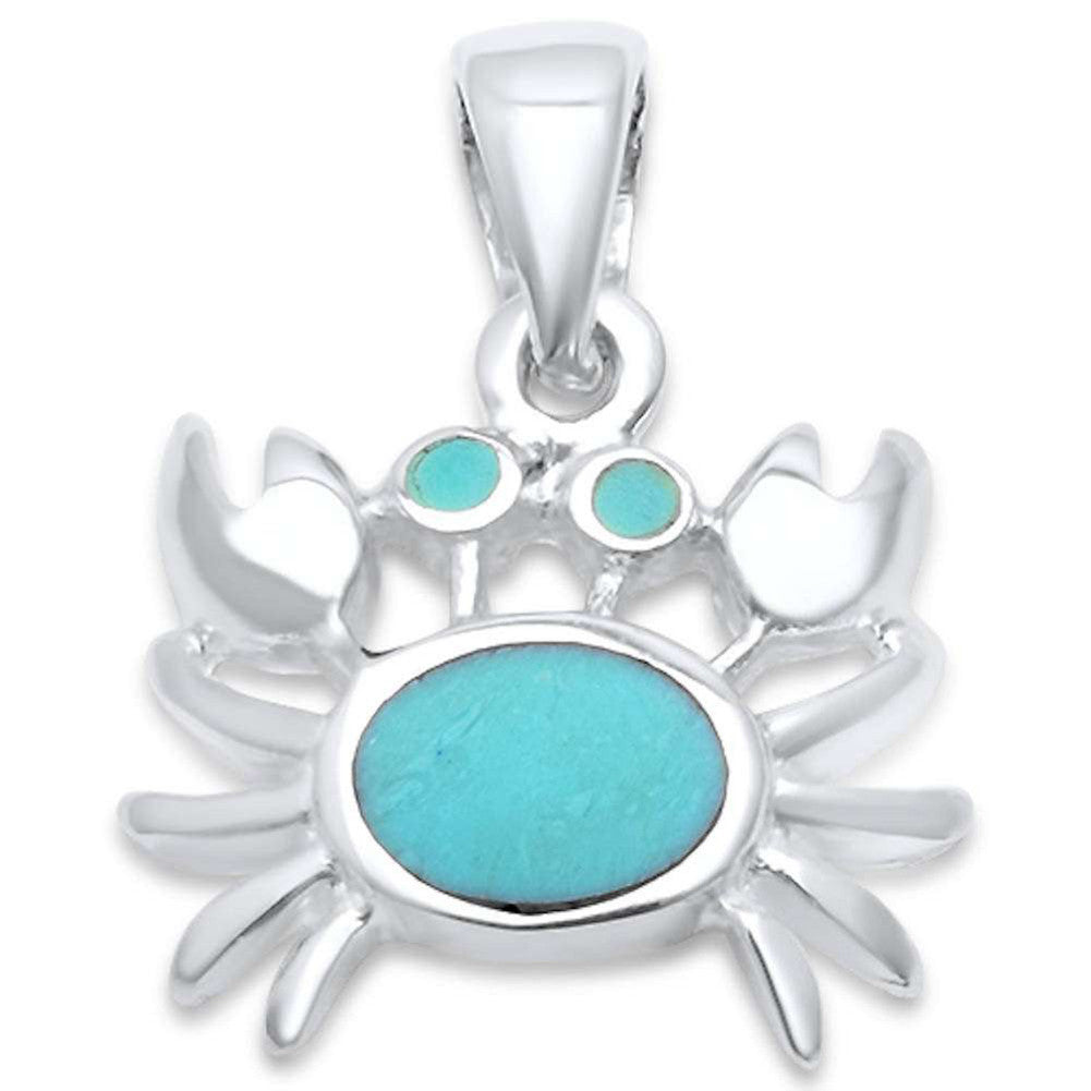 Crab Pendant Charm 925 Sterling Silver Choose Color - Blue Apple Jewelry