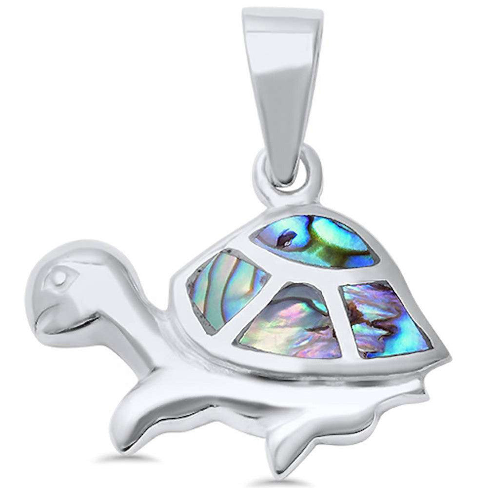 Turtle Pendant 925 Sterling Silver Turtle Charm Choose Color Cute - Blue Apple Jewelry