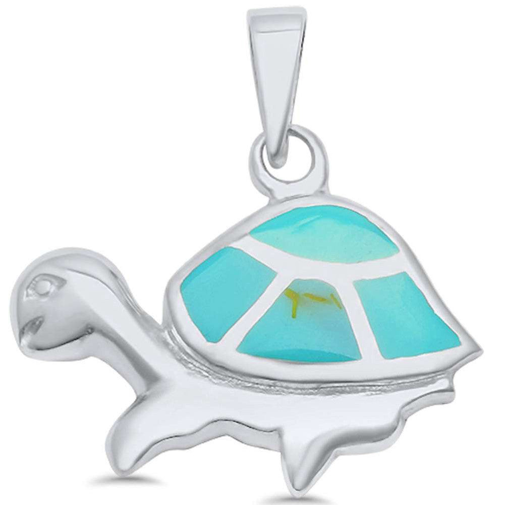 Turtle Pendant Simulated Abalone 925 Sterling Silver (25mm)