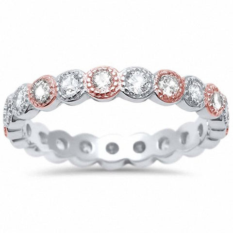 3.5mm Bezel Set Full Eternity Ring Simulated Round CZ Yellow Tone Tone 925 Sterling Silver Choose Color