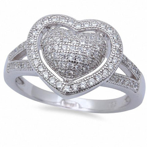 Split Shank Heart Ring Round Cubic Zirconia 925 Sterling Silver Choose Color