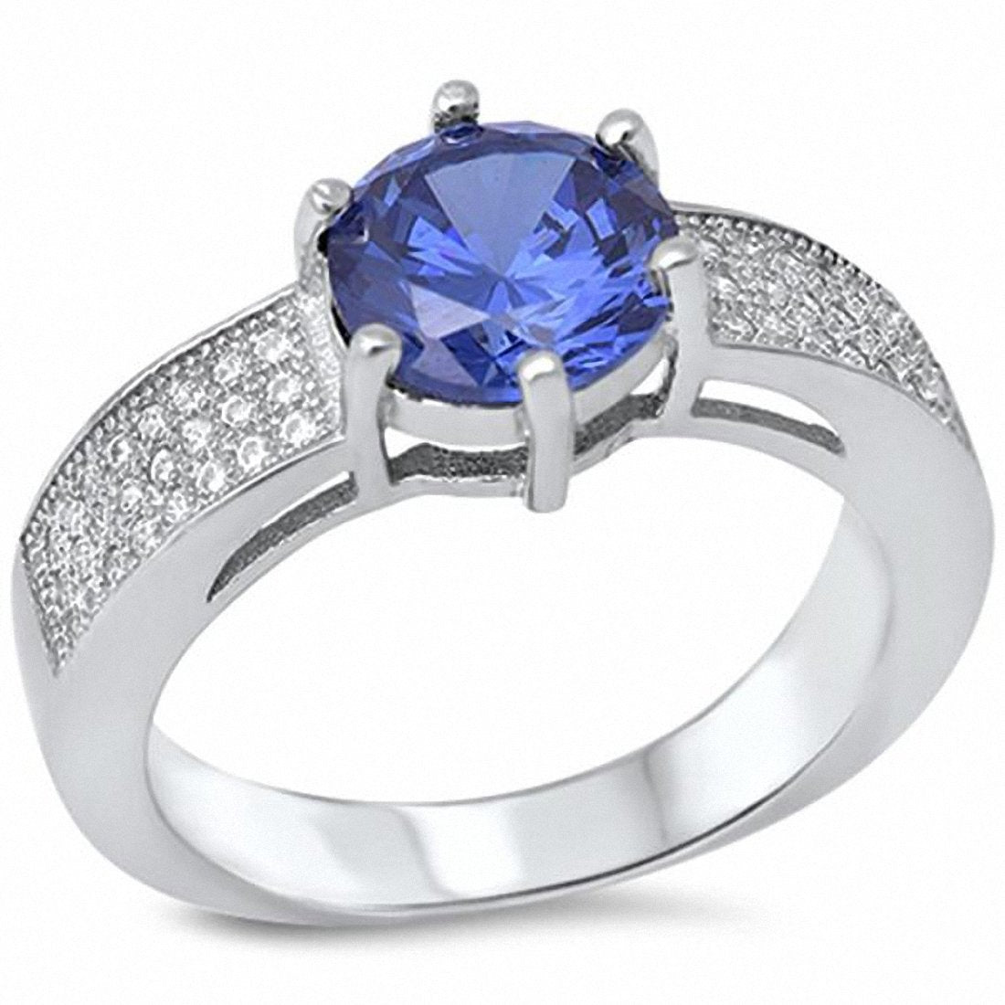 Solitaire Accent Wedding Enagement Ring Round Simulated Stone 925 Sterling Silver Choose Color