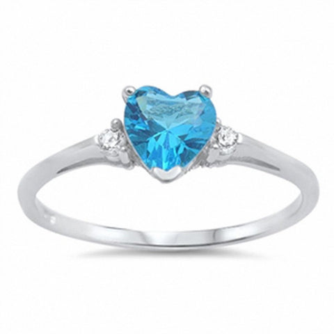 Wedding Engagement Heart Promise Ring Simulated Blue Sapphire Round CZ 925 Sterling Silver Choose Color