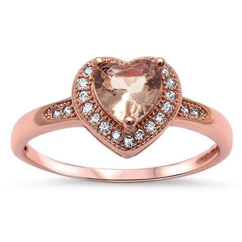 Halo Heart Promise Ring Simulated Morganite Round CZ Rose Gold Rhodium Plated