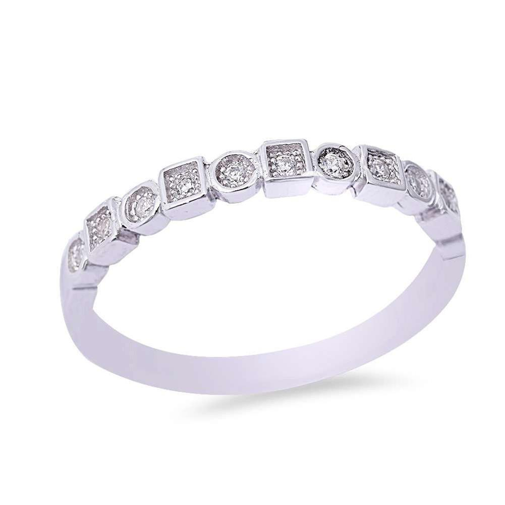 Square Round Half Eternity Wedding Band 925 Round Cubic Zirconia 925 Sterling Silver Choose Color