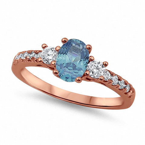 Three Stone Engagement Ring Oval Simulated Aquamarine Round Cubic Zirconia 925 Sterling Silver Choose Color
