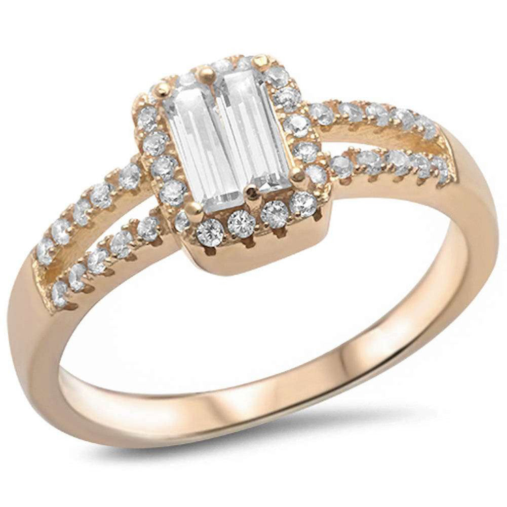 Split Shank Halo Wedding Ring Baguette Round CZ Yellow Gold Rhodium Plated 925 Sterling Silver